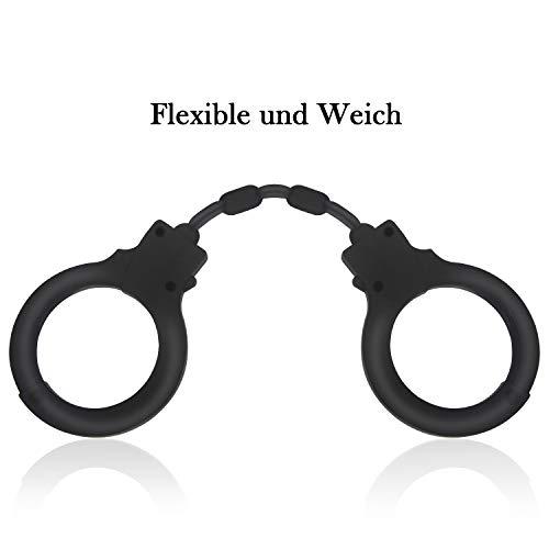 Xocity Silikon SM Handschellen Erotik Sex Toys BDSM Handfesseln Sexspielzeug Für Paare Schwarz