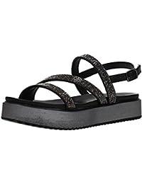 CAF Noir DH905 Femmes Noires Chaussures Espadrilles Lacets Corde de Plate-Forme 37