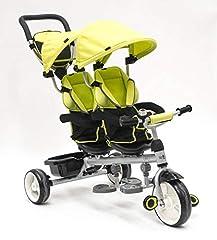 Idea Regalo - Triciclo gemellare alta qualità colore: verde