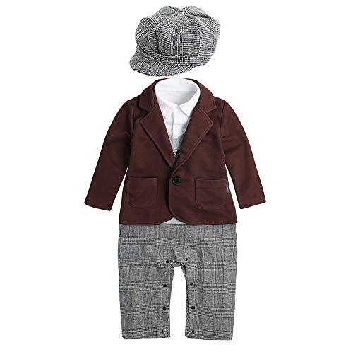 Yre autunno/inverno inverness ragazzo vento costume set, fake 4 signori tuta e cappello piccolo vestito, vestito per bambini,brown,90cm