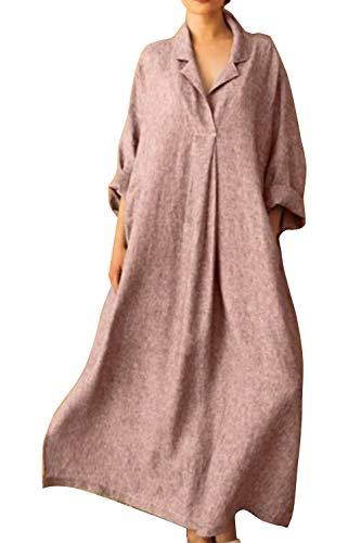 Vestidos Maxi De Cáñamo Casual Primavera Verano Camisa Talla Grande para Mujer Rosa 5XL