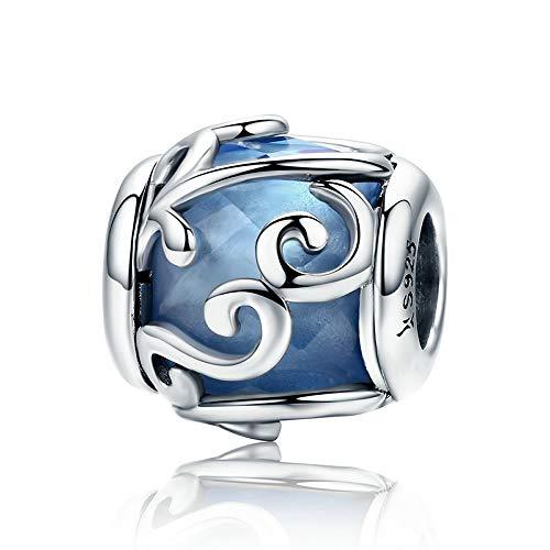 Blu Dancing Waves 100% 925sterling Silver Dancing Waves azzurro cristallo braccialetto di perline di pietra fascino Fit donne DIY gioielli