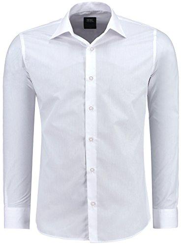 Jeel Langarm Herren Hemd Basic Business Anzug Freizeit Hochzeit Slim Fit, FARBE: Weiß, GRÖßE: M (Baumwolle Falten Hemd)