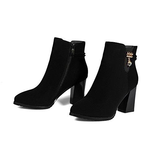 VogueZone009 Damen Blend-Materialien Spitz Zehe Hoher Absatz Stiefel Schwarz-Mattglasbirne(Anhänger)