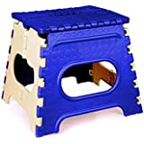 SGD Plastic Strong Folding Step Stool for Adults and Kids (10-Inch, Blue)