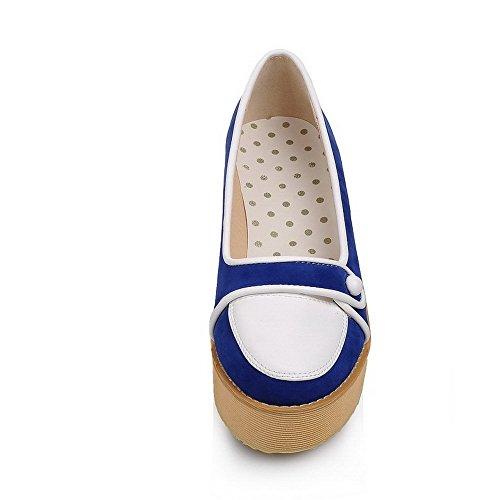 VogueZone009 Donna Tirare Punta Tonda Tacco Medio Tessuto Lucido Colore Assortito Ballerine Azzurro