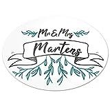 Eurofoto Türschild mit Nachnamen Martens und Motiv - Mr & Mrs Martens im Zeichenstil | für den Innenbereich | Klingelschild