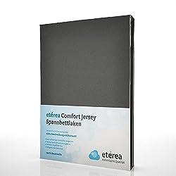 Etérea Jersey Spannbettlaken - Serie Comfort - 100% Baumwolle Spannbetttuch Farbe Anthrazit, in der Größe 180x200-200x200cm