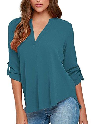 Damen Bluse IHRKleid® Womens Plus size Casual Chiffon Ladies V-Neck Cuffed Sleeve Blouse Tops (S-5XL) Hellblau