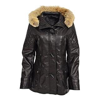 Damen Slim Fit Duffle Leder Jacke Abnehmbarer Kapuzen Klassisch Parka Ariel Schwarz (XL - 42)