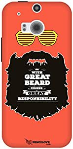 The Racoon Lean Respect thy Beard hard plastic printed back case / cover for HTC One (M8)