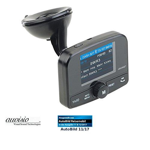 auvisio DAB Empfänger Auto: Kfz-DAB+/DAB-Empfänger, FM-Transmitter, Bluetooth, Freisprech-Funktion (DAB Radio Transmitter, Bluetooth)