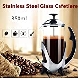 SLB Works Brand New 350ml 11oz. Stainless Steel Glass Cafetiere French Press Coffee Maker Tea Pot