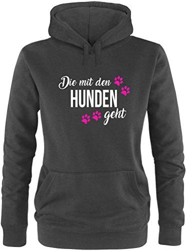 EZYshirt® Die mit den Hunden geht Damen Hoodie | Damen Kapuzenpullover | Damen Pullover