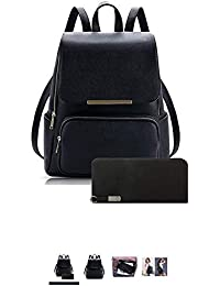 dc92a9276e3 Wild Buddy Black Leather Backpack for Girls Schoolbag Casual Daybag with  Stylish Wallet (Combo)