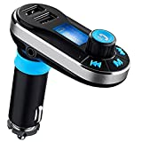 Favoto Bluetooth MP3 Player, FM Transmitter Bluetooth Car Kit Charger Hand-free Support Dual USB Ports/SD Card/USB Driver/AUX Input with Remote Control (Silver)
