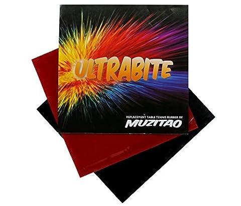 Ultrabite de tennis de table en caoutchouc par Muzitao (lot de 2, 1 x rouge + 1 x noir) Raquette de tennis de table gommes de remplacement (Avec éponge)
