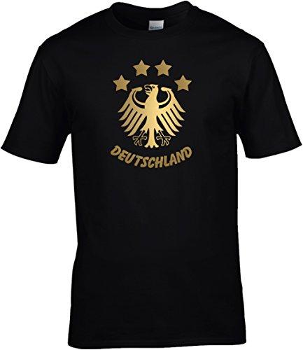 BlingelingShirts T-Shirt Herren WM Shirt Deutschland Fussball 4 Sterne und Bundesadler Deutschland Schriftzug Germany 2018, T-Shirt, Grösse XXXXXL, Schwarz