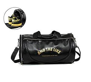 Quanjie Sac de Sport Imperméable PU Cuir Sacs de Voyage de Week-end Grande Capacité Gym Travel Duffel Bag pour Femmes et Hommes avec Compartiment à Chaussures Séparé