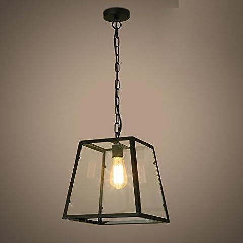 BJVB Vintage Industrial Village Bar Cafe restaurante campana labrado decorativo hierro cuadrado vidrio sombra colgante Lámpara de dormitorio luces de techo
