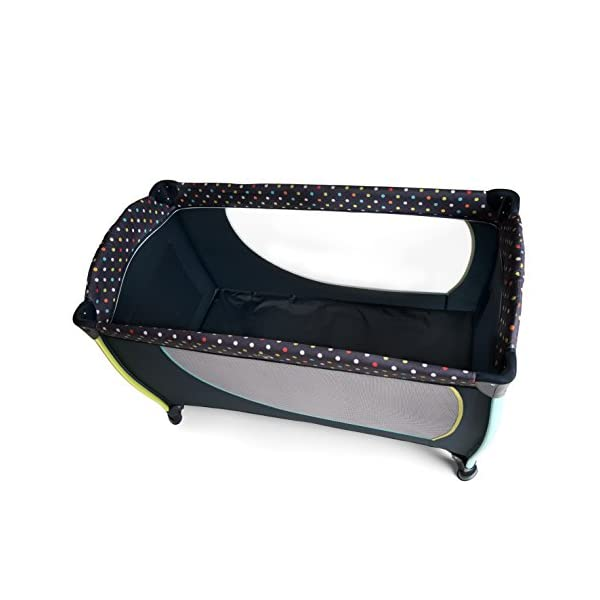 Hauck Sleep N Play Centre II, 7-part Folding Travel Cot from Birth to 15 kg, Bassinet and Changing Top, Folding Mattress and Wheels, Side Opening, Toy Bag, 120 x 60 cm, Multi Dots Navy Hauck Suitable from birth Includes fold up mattress (60 x 120cm) Folds away into its own carry bag 6