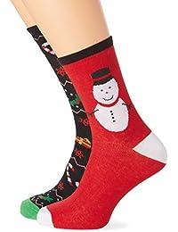 The Christmas Workshop Men's Pack of 2 Xmas Socks, Multicoloured, 7-10 (Manufacturer Size:UK6-11)