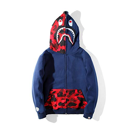 Bape for Boys|Fashion Bape Half Camouflage Shark Head Zip Sweater Black Men Boys