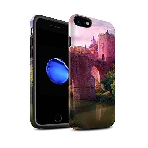 Officiel Elena Dudina Coque / Matte Robuste Antichoc Etui pour Apple iPhone 8 / Vallée des Dragons Design / Fantaisie Paysage Collection Pont Château/Fossé
