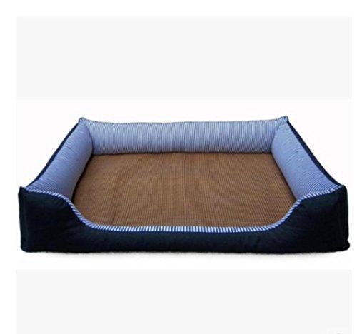 Die große Hundehütte Matte Waschbar Haustiernest/Gestreifte Baumwoll-Denim + + + PP Baumwolle Vlies Schwarzen Boden/Pet Bett / 82cm / 112cm, S (Gestreifte Boden-matte)