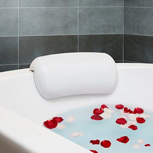 Fypo Oreiller de bain Spa–Etanche Confort Tête et cou Coussin de soutien durable appuie-tête avec ventouses pour baignoire et jacuzzi–Facile à nettoyer et séchage rapide 27cm x 15cm (25,4x 12,7cm)