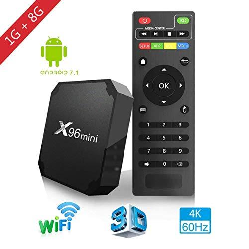 X96mini TV Box Android 7.1.2, 1 + 8 Go, 4K Boîtier Numérique et Intelligent pour la Télévision, Boîte Télé avec Télécommande(CPU Amlogic S905W Quad Core / Arm Cortex A53 / Connexion WiFi / H.265