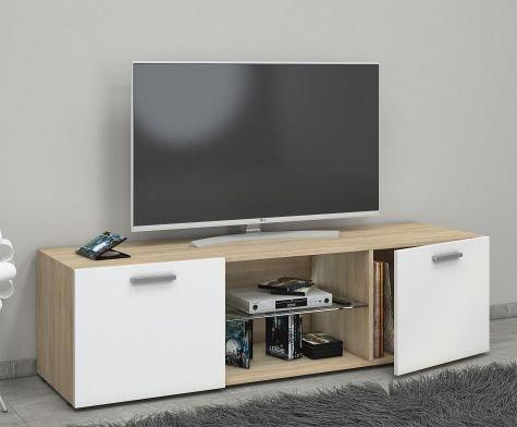 VCM Lowina 140 Meuble TV, Bois, Chêne Sonoma/Blanc, 40 x 140 x 36 cm