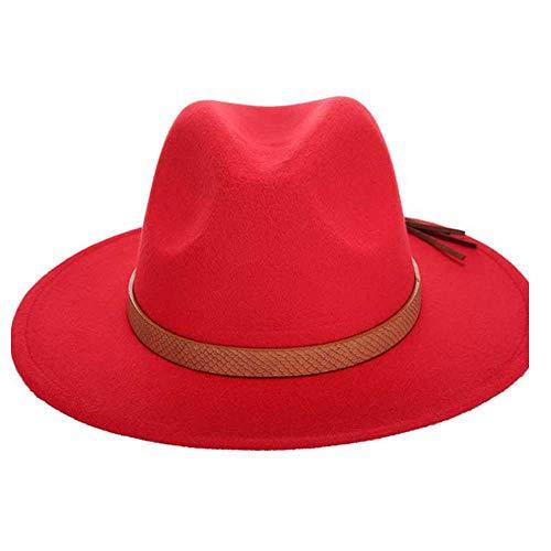 Frauen Fedora Hut Wollfilz Leder gewebt Gürtel klassischen breitkrempigen Hut (Farbe : Rot, Größe : 56-58CM) ()