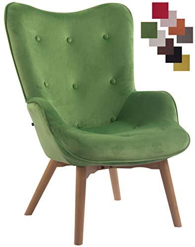 CLP Lounger Duke mit geknöpfter Polsterung und Stoffbezug I Loungesessel mit Armlehnen und Gestell aus Buchenholz Grün