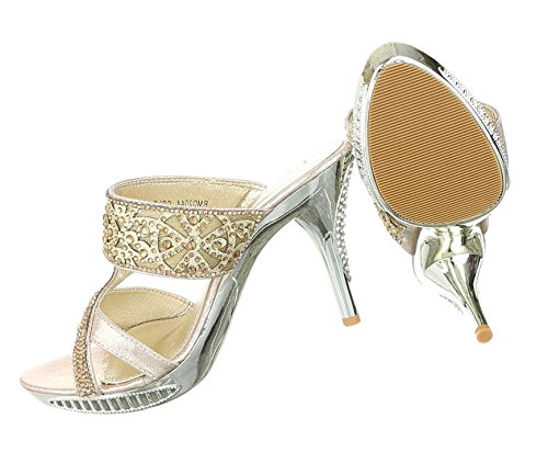 Damen Sandaletten Schuhe High Heels High Heels stiletto Pantoletten Pumps Gold