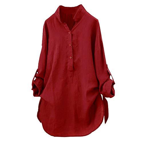 Yvelands Damen Baumwolle T-Shirt Solide Langarmhemd Lässige Lose Bluse Button Down ()