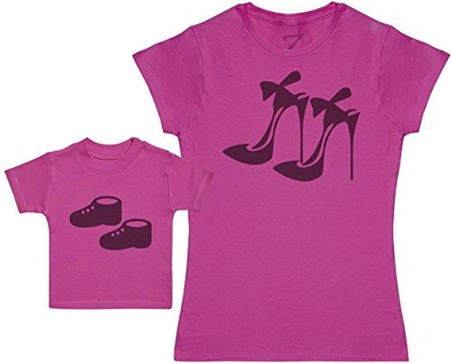 Zarlivia Clothing High Heels and Baby Booties - Ensemble Mère Bébé Cadeau - Femme T Shirt & bébé T-Shirt - Rose - XL & 1-2 Ans