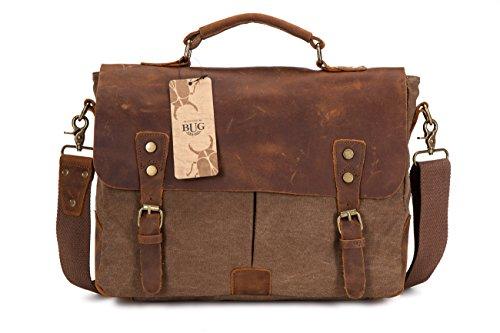 DoubleMay Herren Vintage Canvas Leder Aktentasche Messenger Bag Umhängetasche ideal für Studium Büro oder Freizeit Outdoor 37 x 10 x 27 cm (Kaffee)