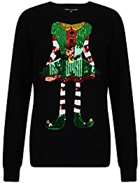 Womans Novelty Xmas Sweater Sequin Knitted Christmas Jumpers