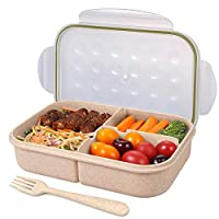 Jeopace Bento Box for Adults,Lunch Container for Kids,3 Compartments Portion Lunch Box,Food-Safe Materials,BPA-free,Leak-proof (Green)
