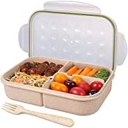 Jeopace Bento Box for Adults Lunch Container for Kids 3 Compartments Portion Lunch Box Food-Safe Materials BPA