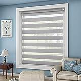 OUBO Doppelrollo Klemmfix ohne Bohren 85x 150 cm (BxH) Grau Fenster Duo Rollo - lichtdurchlässig und verdunkelnd Wandmontage Deckenmotage Sichtschutz Rollo mit Klemmträgern