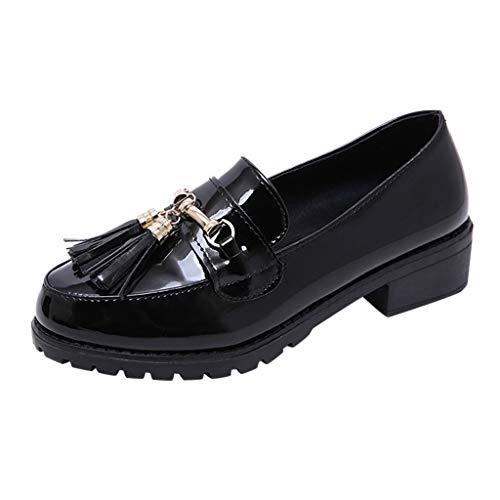 POTOU 2019 Damen Mokassin Bootsschuhe Leder Arbeitsschuhe Freizeit Flache Loafers Halbschuhe Fahren Sandalen Klettverschluss Erbsenschuhe