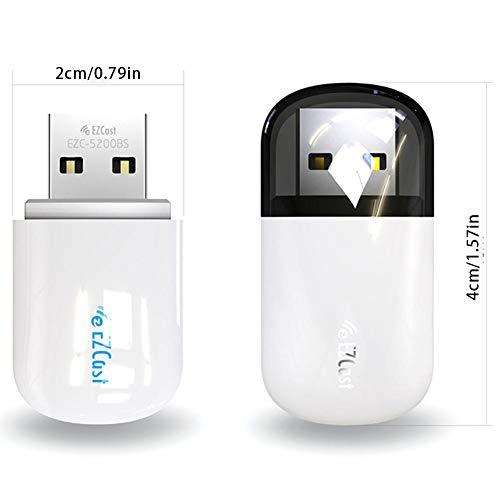 Diuspeed Wireless-Netzwerkkarte, 2.4G 5GHZ Dualband-Wireless-Netzwerkkarte USB-Port Bluetooth 4.2-Empfänger Transmitter Plug and Play Free Drive