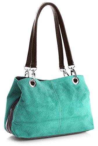 Big Handbag Shop kleine Damen Umhängetasche mit mehreren Reißverschlusstaschen aus Wildleder (3_MP Turquoise Blk) (Türkis Italienischen Designer Handtasche)