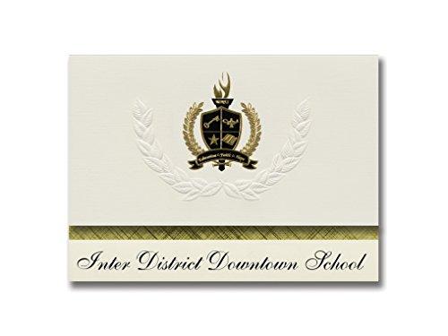Signature-Announcements Inter District Downtown School (Minneapolis, MN), Abschlussankündigungen, Präsidential-Pack, 25 Stück, mit goldfarbener und schwarzer Metallic-Folienversiegelung