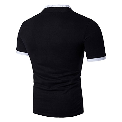 Veravant Herren Poloshirt T-Shirt Henry Kragen Kurzarm Schwarz ...