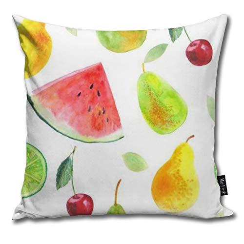 COCO-La Nahtloses Muster mit Frucht-Wassermelonen-Zitronen-Kalk-Birnen und Cherry Food Picture Watercolor Kissenbezüge Dekokissen Fall Kissenbezug 45X45cm (Kalk-zebra)
