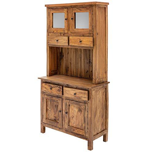 Invicta Interior Eleganter Küchenschrank Hemingway 175cm Buffetschrank Mahagoni mit Schubladen Vitrine Schrank Massivholz Vitrinenschrank Buffet -