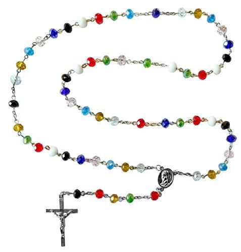 Kaltner Präsente Geschenkidee - Rosenkranz für Damen und Herren mit Kreuz Anhänger Marienbild und Glas Perlen Farbe Bunt Mehrbarbig (Länge 74 cm)